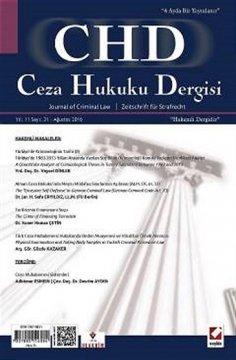 """Ceza Hukuku Dergisi: Sayı:31 Ağustos 2016"""